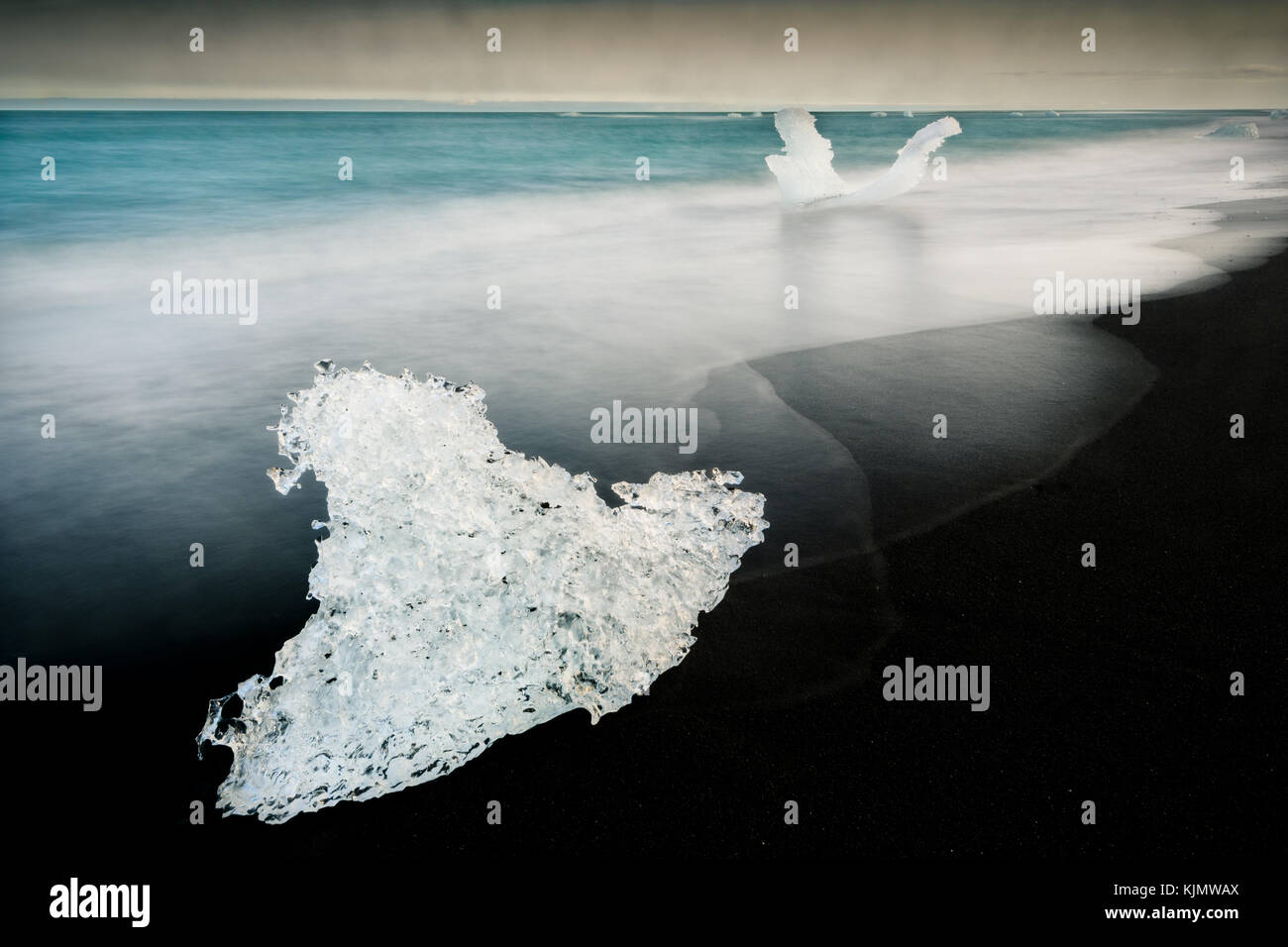 Lumps of ice at Diamond Beach in Iceland. Stock Photo