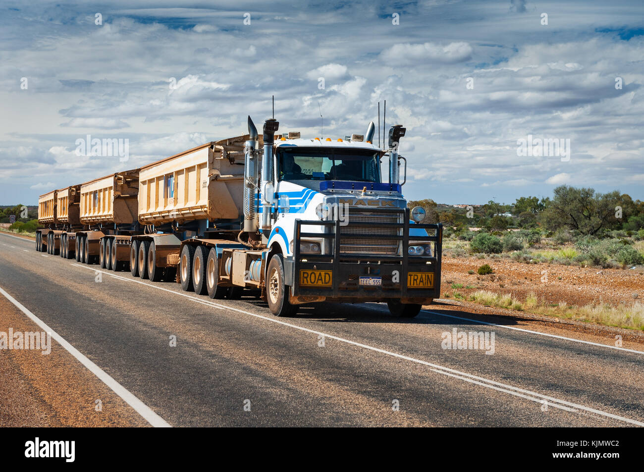 Road Train in the outback of Western Australia. - Stock Image
