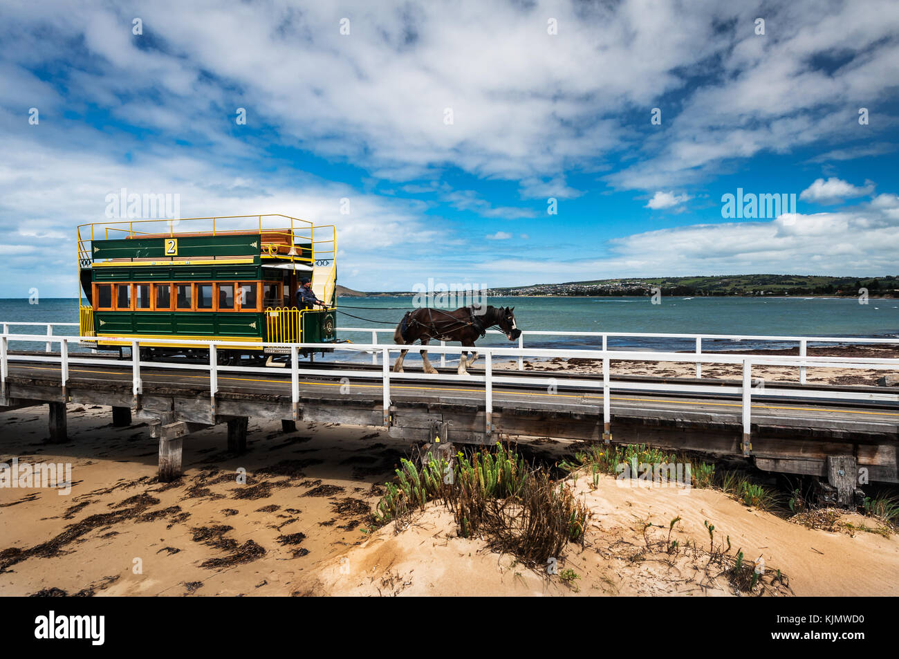 Famous Horse Drawn Tram in Victor Harbor. - Stock Image