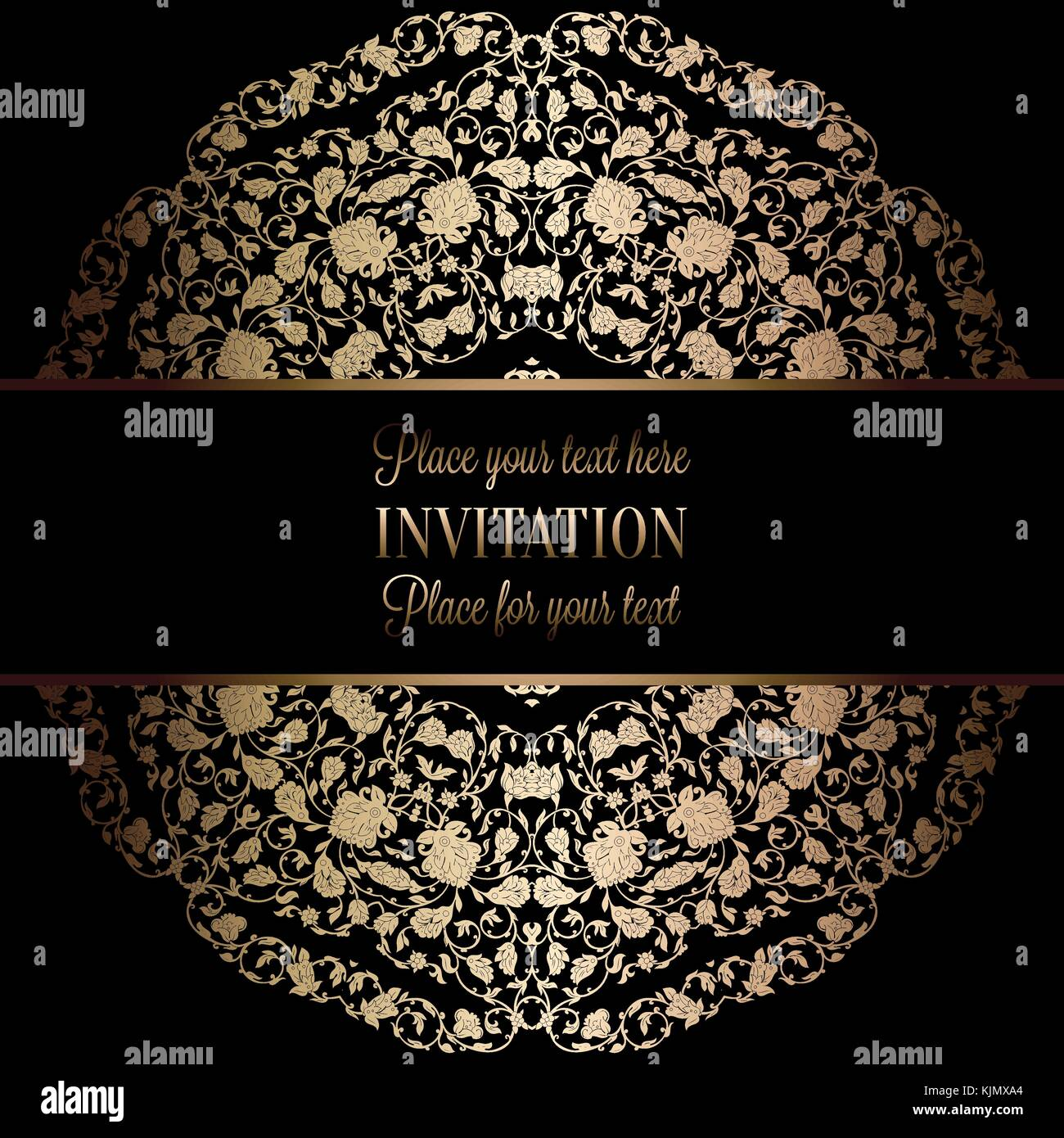 Vintage baroque Wedding Invitation template with damask background Stock  Vector Image & Art - Alamy