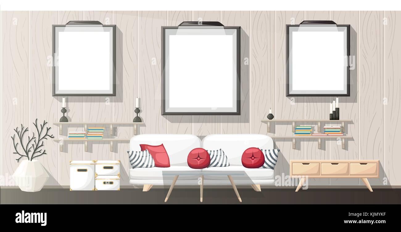 Interior Design Modern Living Room With Grey Sofa Vase