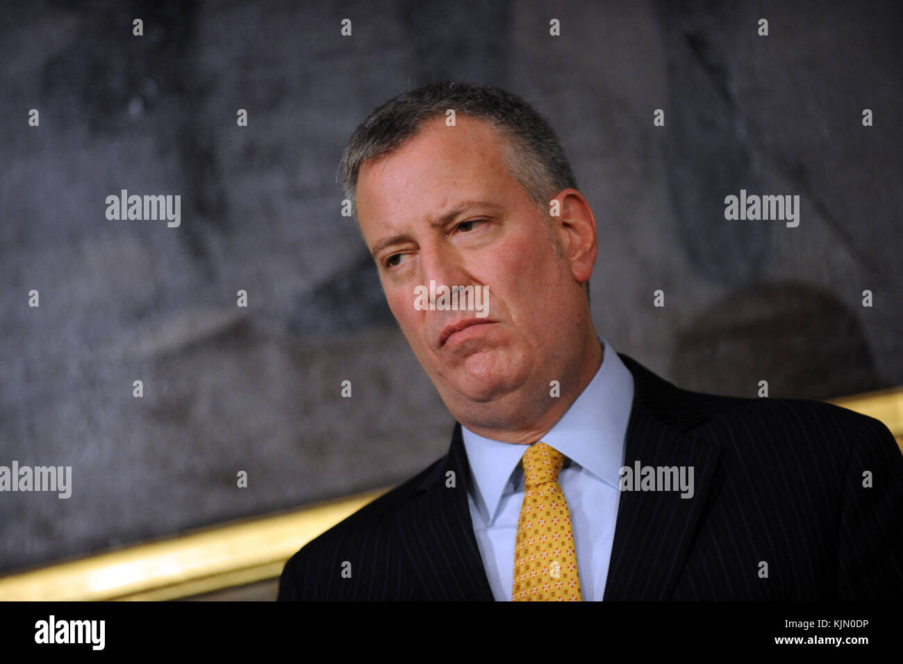 NEW YORK, NY - JANUARY 12: Press conference on public safety with New York Mayor Bill de Blasio, Chief Administrative - Stock Image