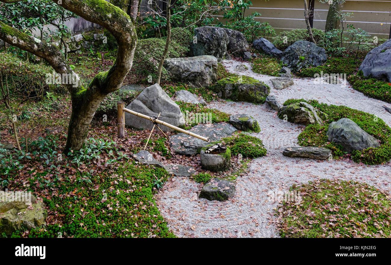 Small Japanese Zen Garden Meditation Stones At Ancient Shrine In Kyoto,  Japan.