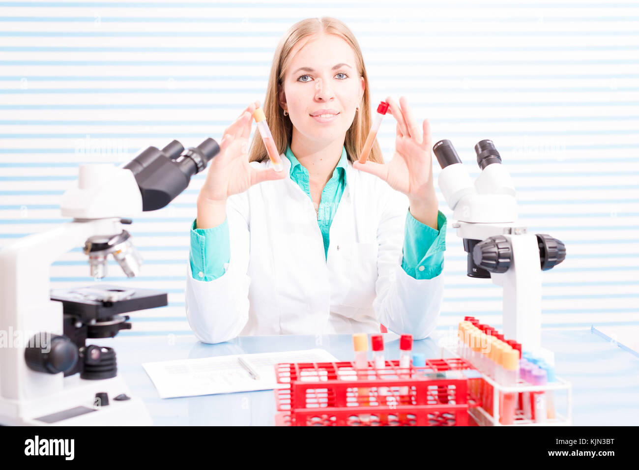 Nurse in the hospital laboratory - Stock Image