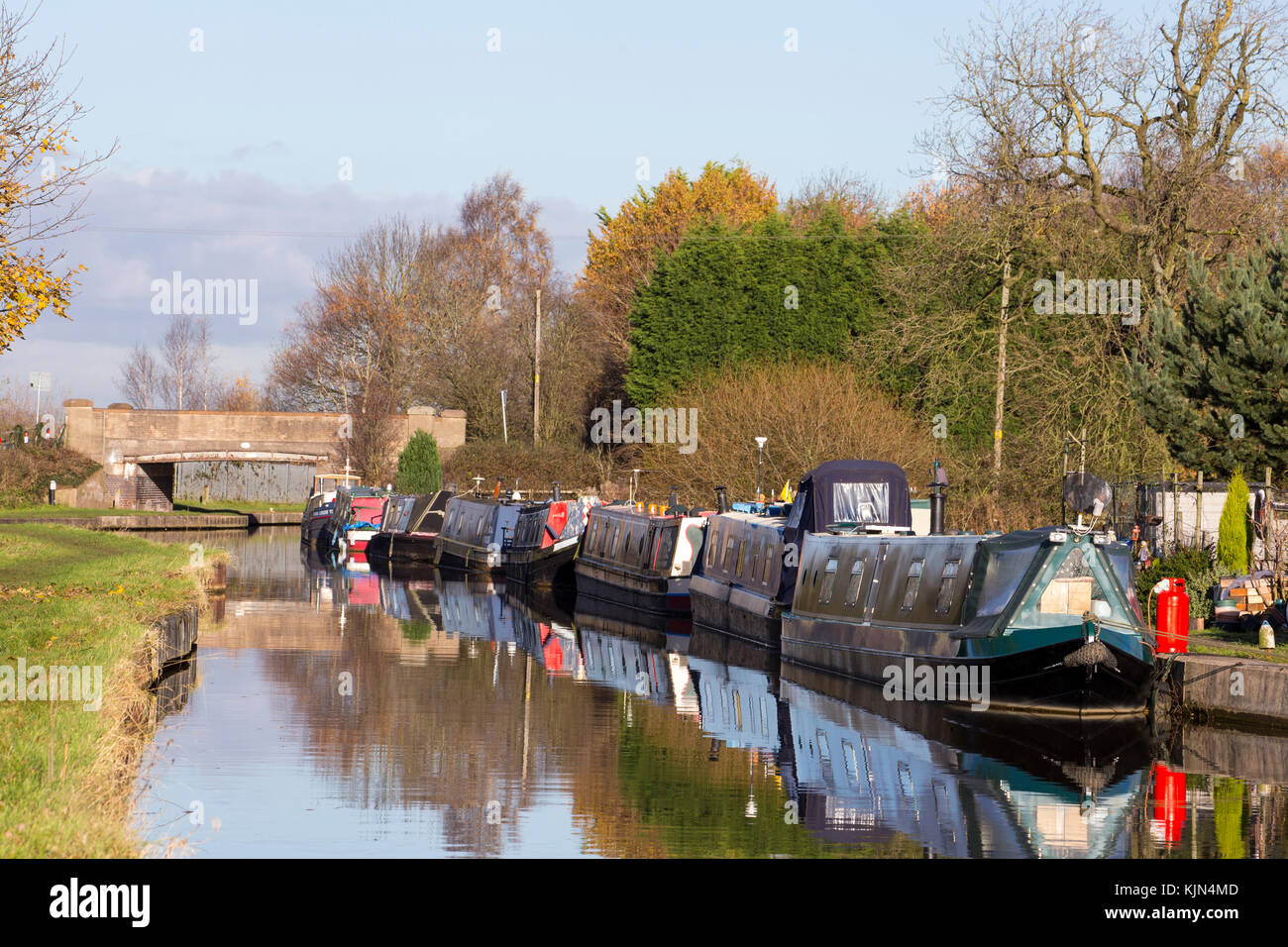Narrow boats on The Trent and Mersey Canal in Elworth near Sandbach Cheshire UK - Stock Image