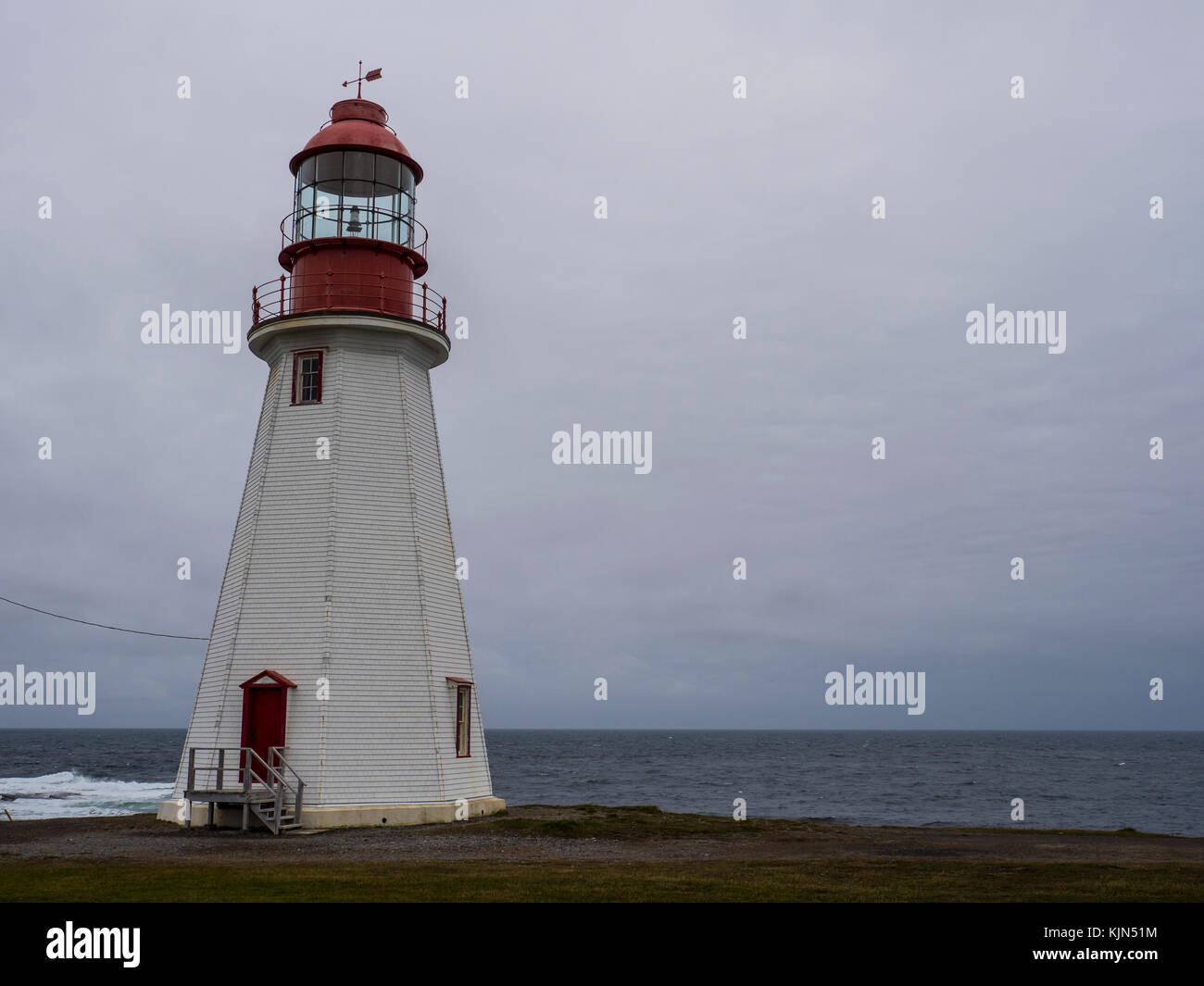 Point Riche Lighthouse, Port au Choix National Historic Site, Highway 430, the Viking Trail, Newfoundland, Canada. Stock Photo