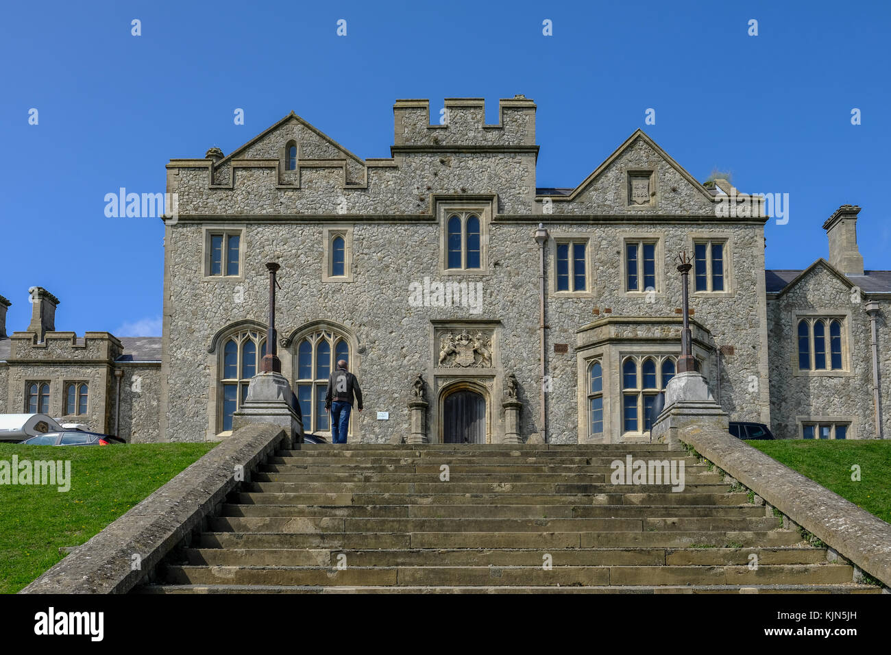 Dover Castle, Dover, Kent, UK - August 17, 2017: Officer's New Barracks with steps infront.  Landscape shot of stone Stock Photo