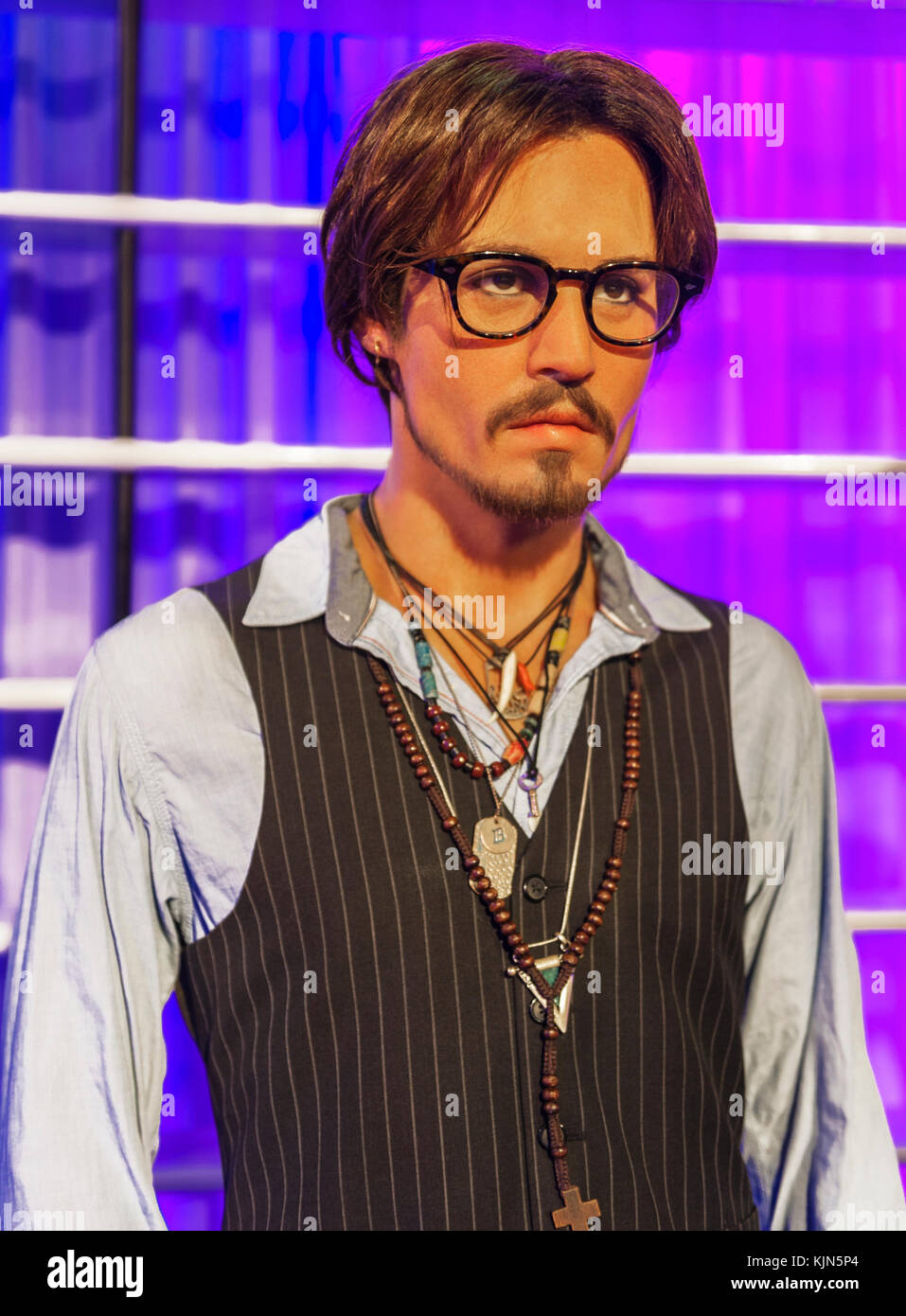 Berlin, Germany - March 2017:  Johnny Depp wax figure in Madame Tussaud's museum - Stock Image