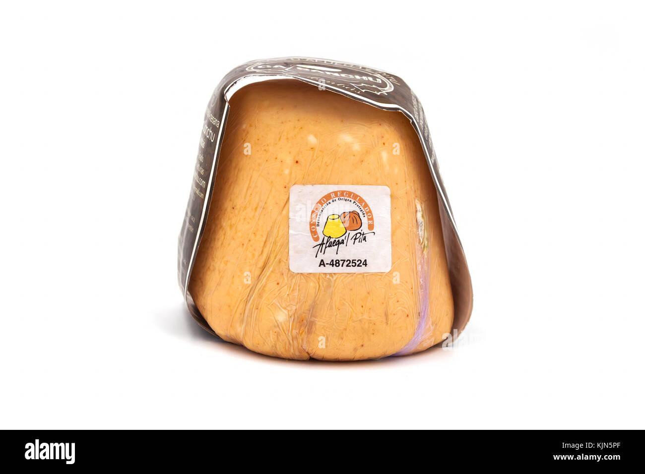 Asturian Afuega'l pitu cheese isolated on white background - Stock Image