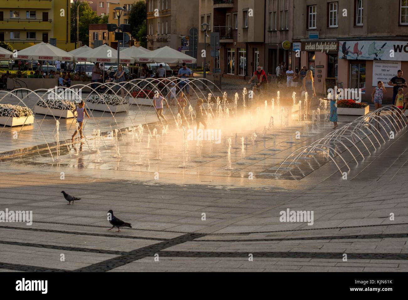 Fountain in John Paul 2 Square in Rybnik Poland - Stock Image