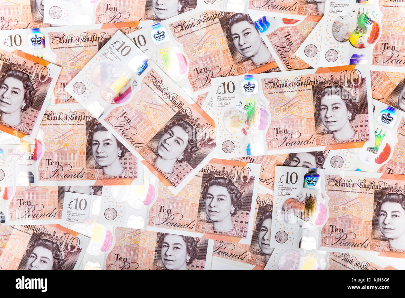 New polymer £10 pound notes - Stock Image