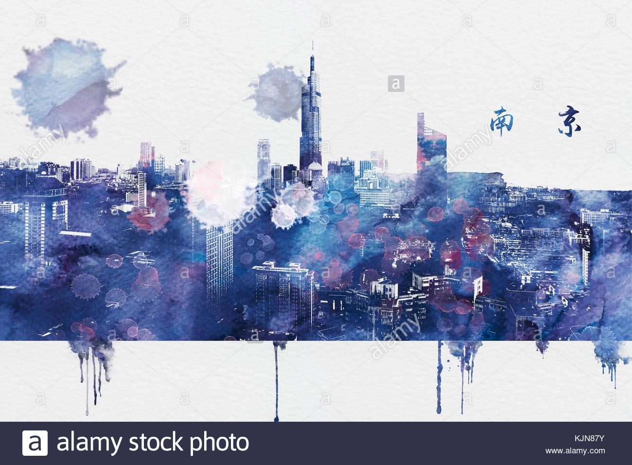 Nanjing ink painting - Stock Image