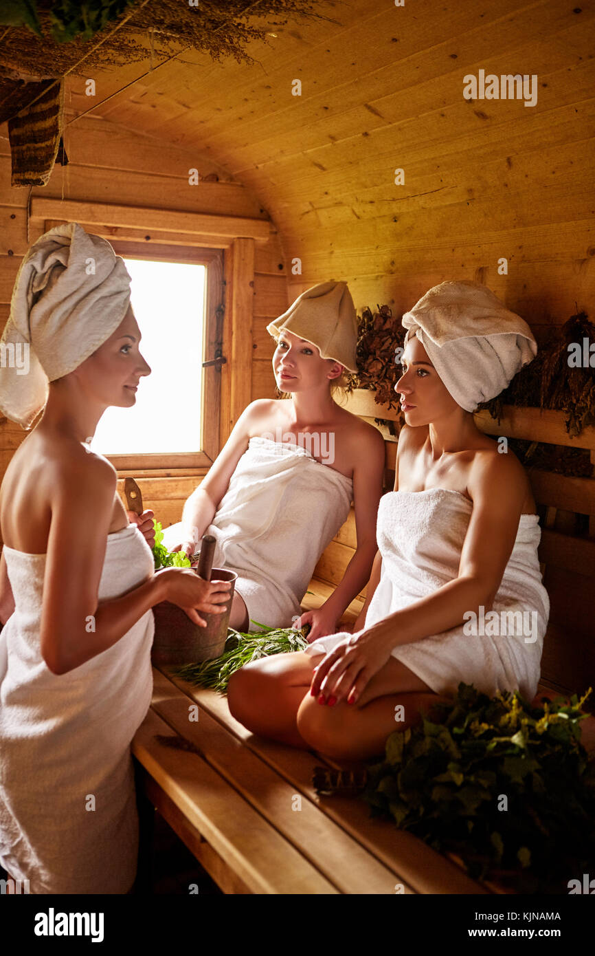 Girls In The Sauna High Resolution Stock Photography and
