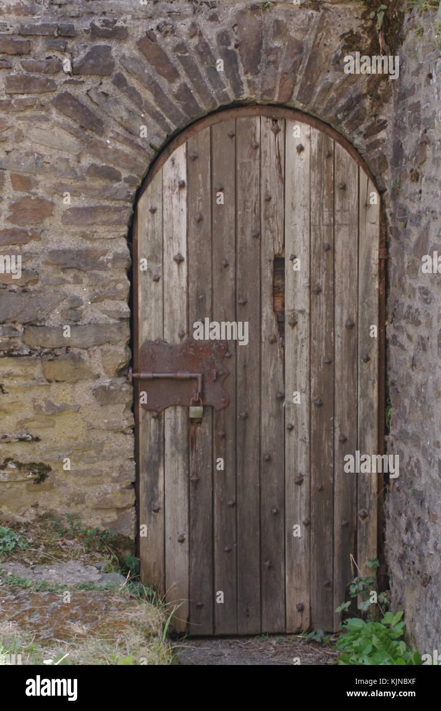 Old Wooden Castle Door - Stock Image