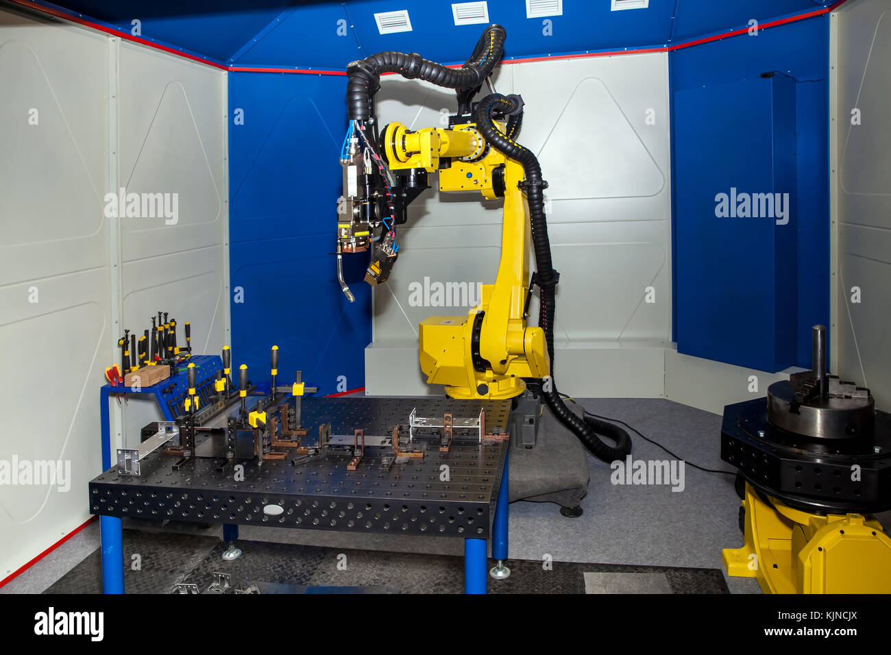 Robot welding equipment, close up process view - Stock Image