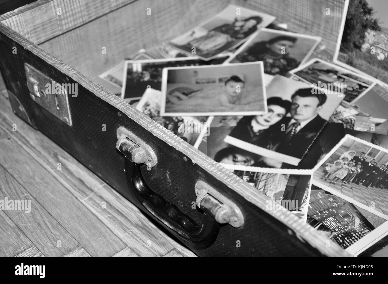 Memories Like photos in old,vintage suitcase - Stock Image