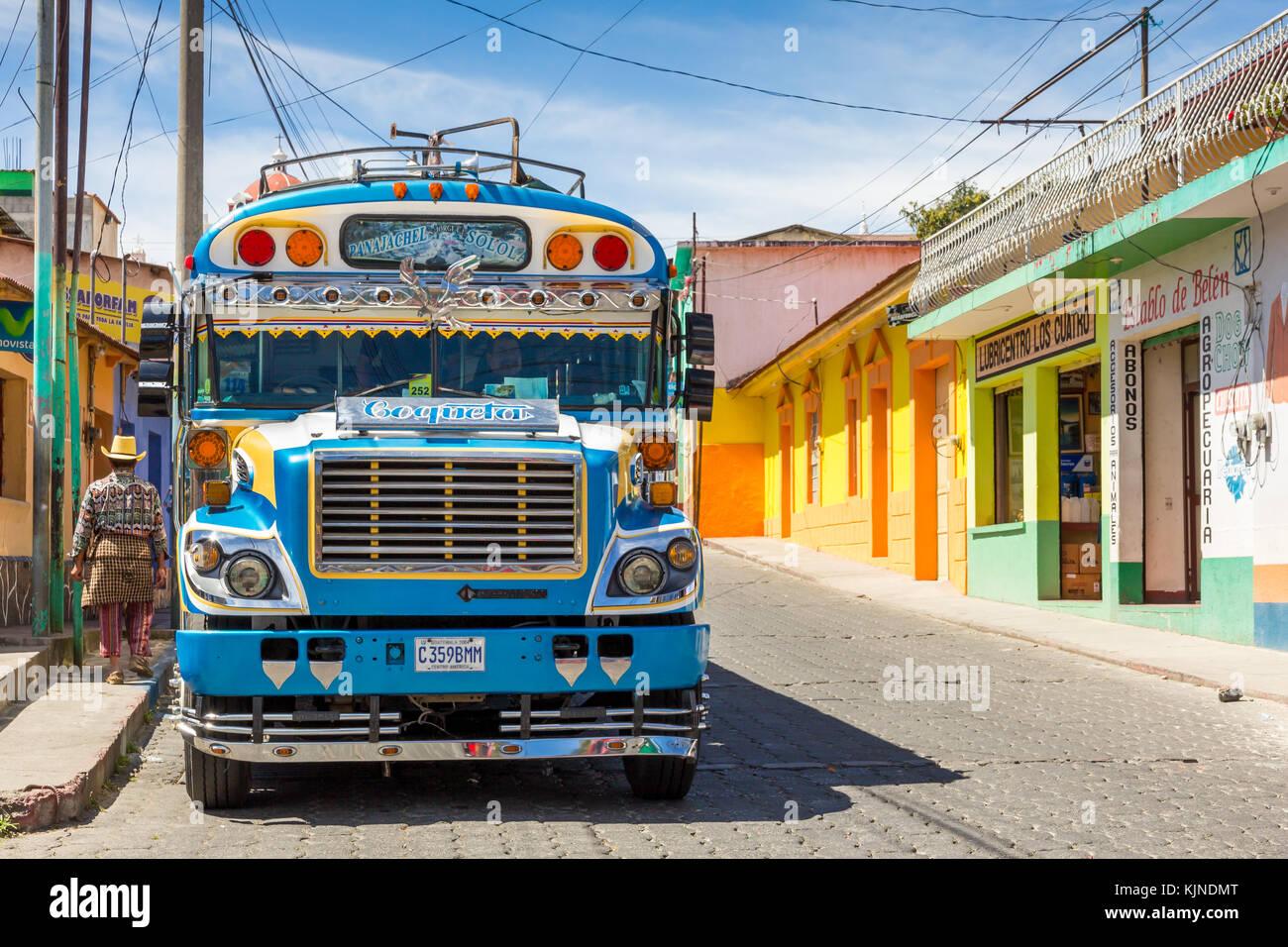 Chicken bus   Sololá   Guatemala - Stock Image