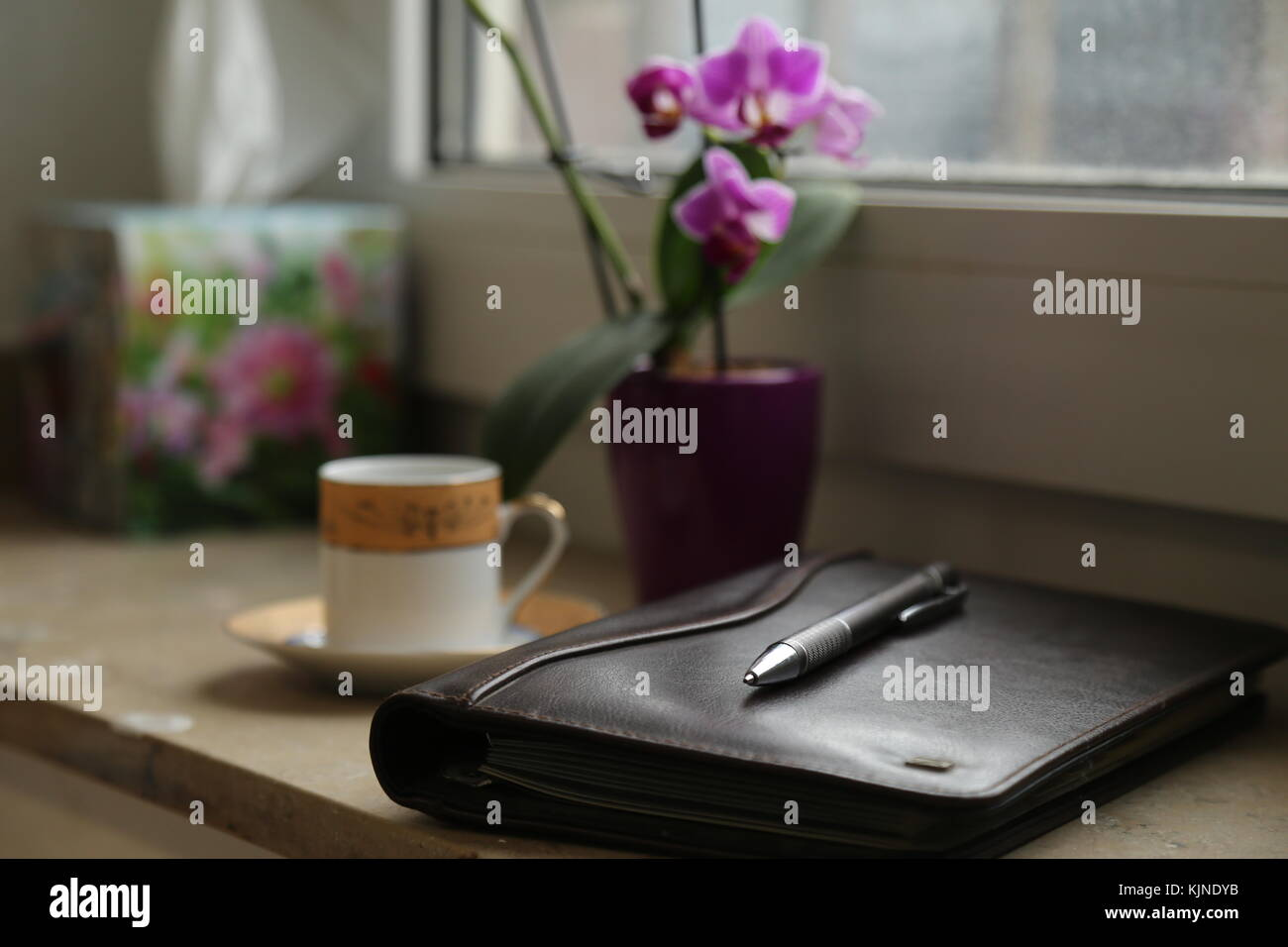 Notebook Pencil Coffee Work Station Office Leather Desk Table With Stock Photo Alamy