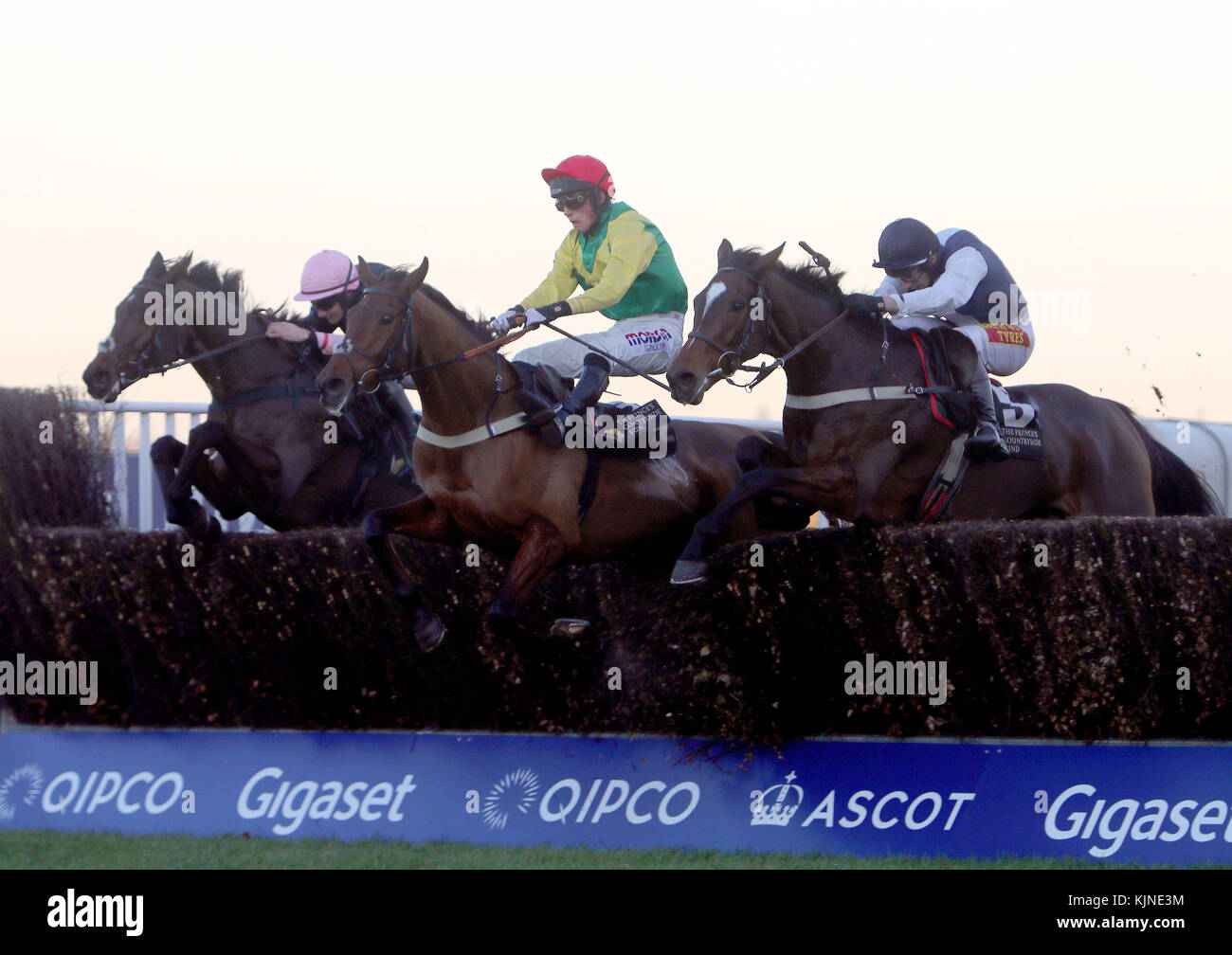 Walk in The Mill (nearside) ridden by James Best beats Bally Longford (centre) and Brandon Hill (left) to win the - Stock Image