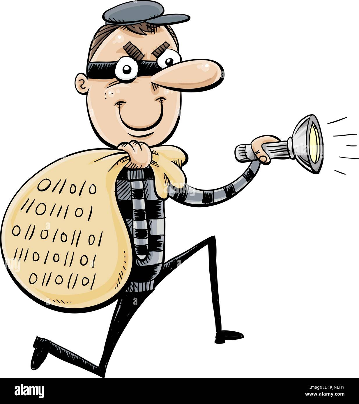 A cartoon of a thief with a sack full of data and holding a flashlight. - Stock Vector