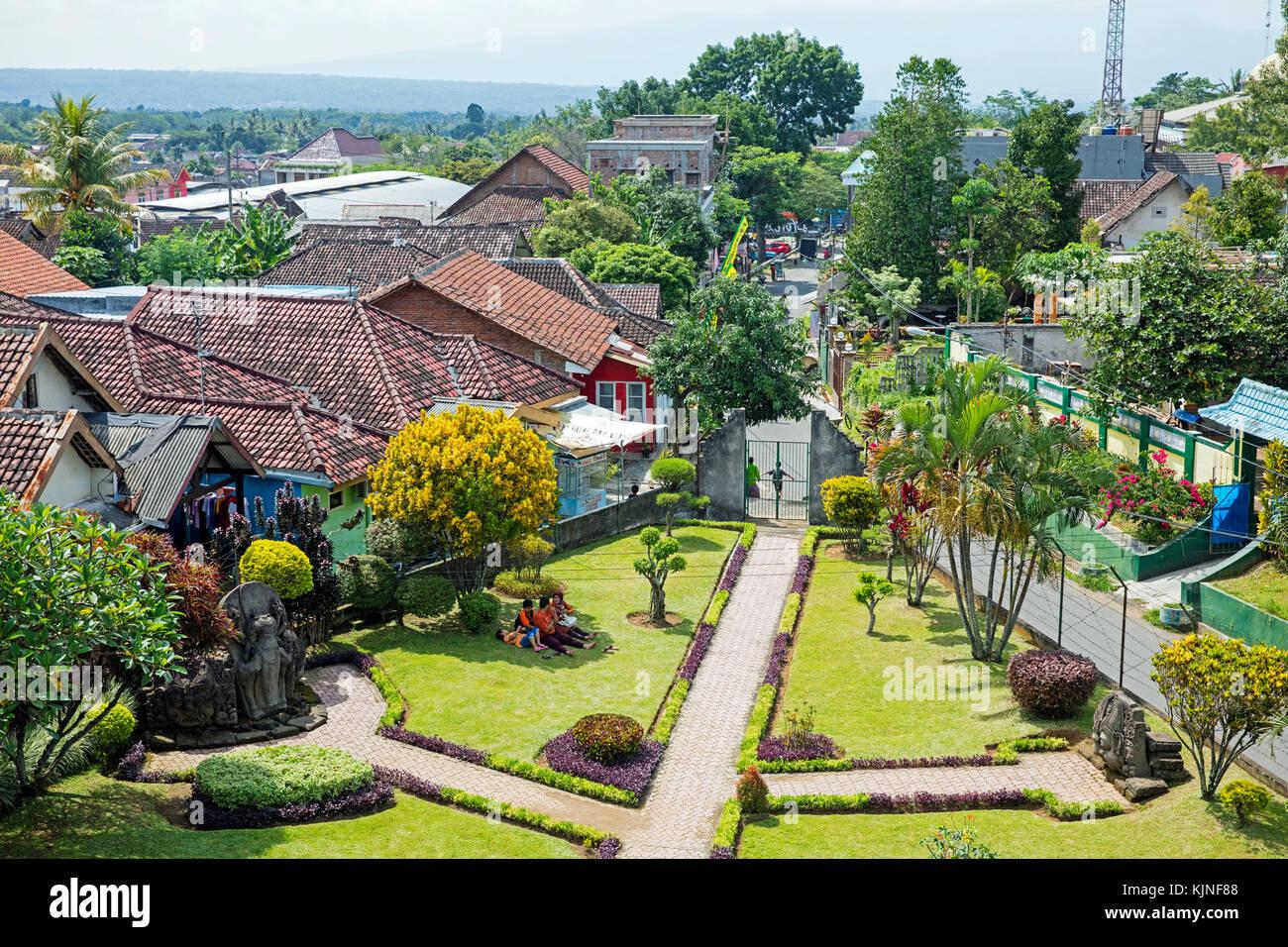 View over the village Tumpang from Candi Jago, 13th-century Hindu temple near Malang, Tumpang district, East Java, Stock Photo