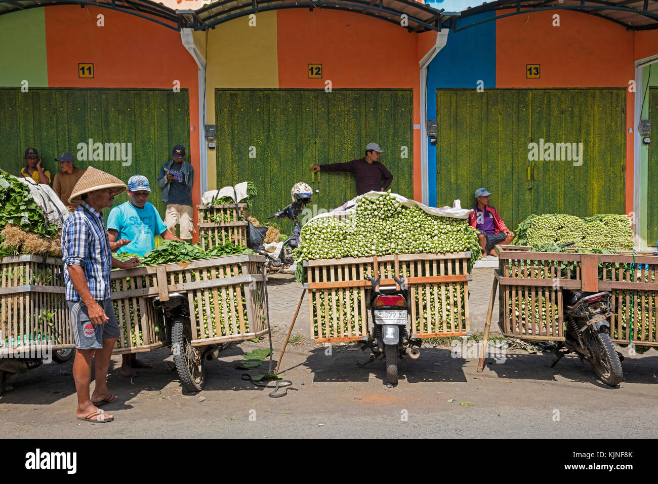 Javanese vendors with motorbikes heavily laden with vegetables selling greens at food market in the village Tumpang, - Stock Image