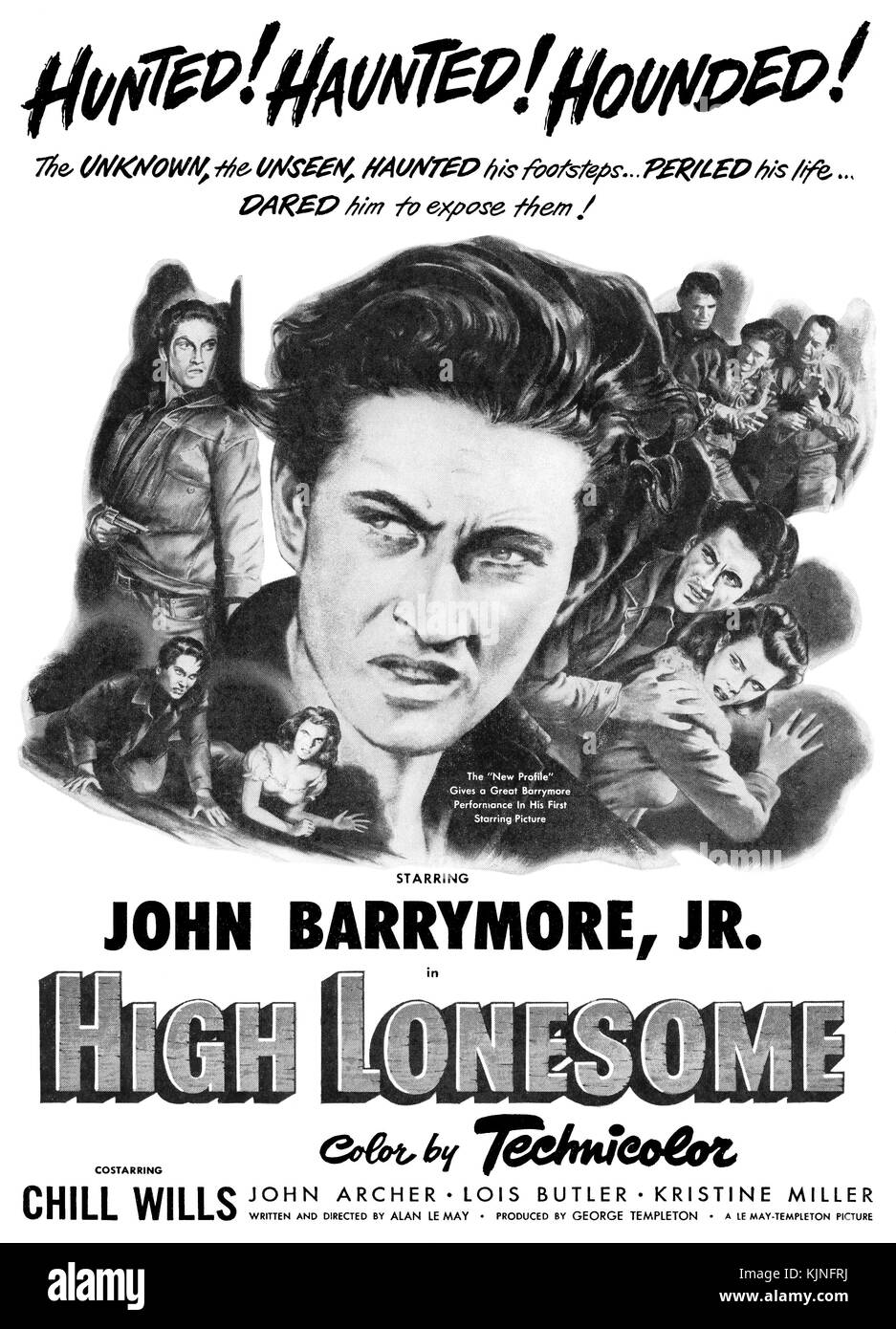 1950 U.S. advertisement for the Western High Lonesome, starring John Barrymore Jr. and Chill Wills. - Stock Image