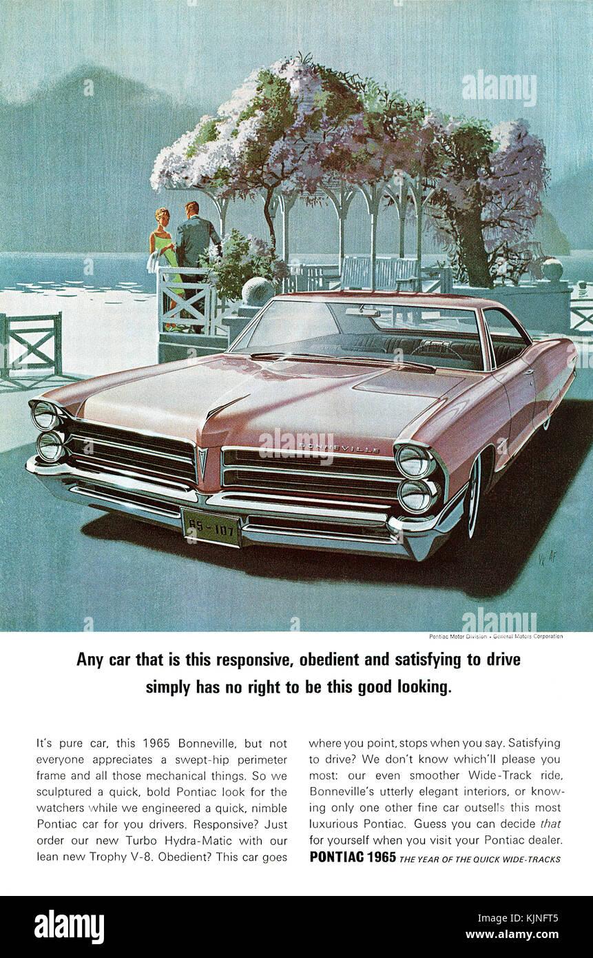 1965 U.S. advertisement for the Pontiac Bonneville automobile. - Stock Image