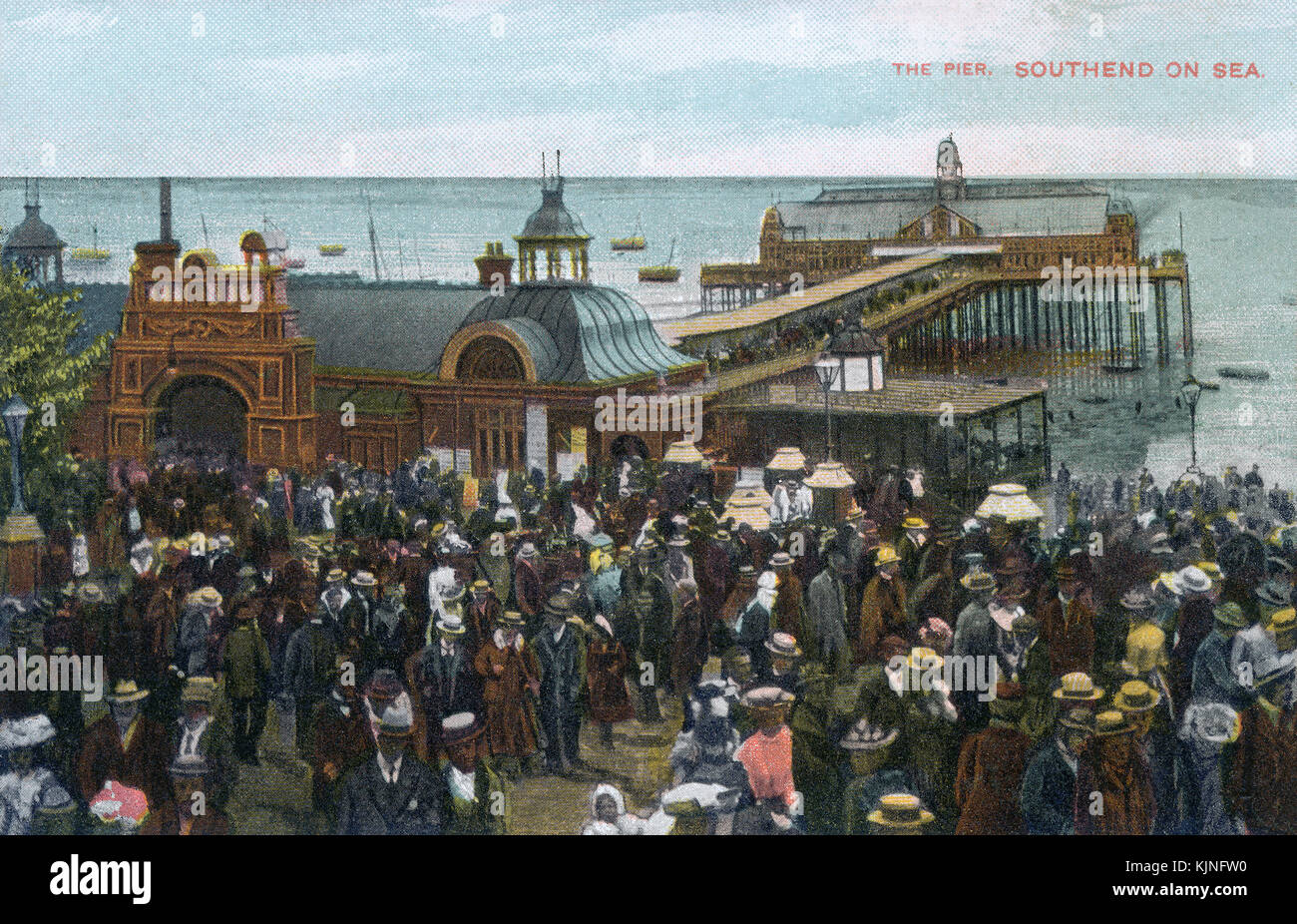 Edwardian postcard of the pier head at Southend-On-Sea, Essex. - Stock Image