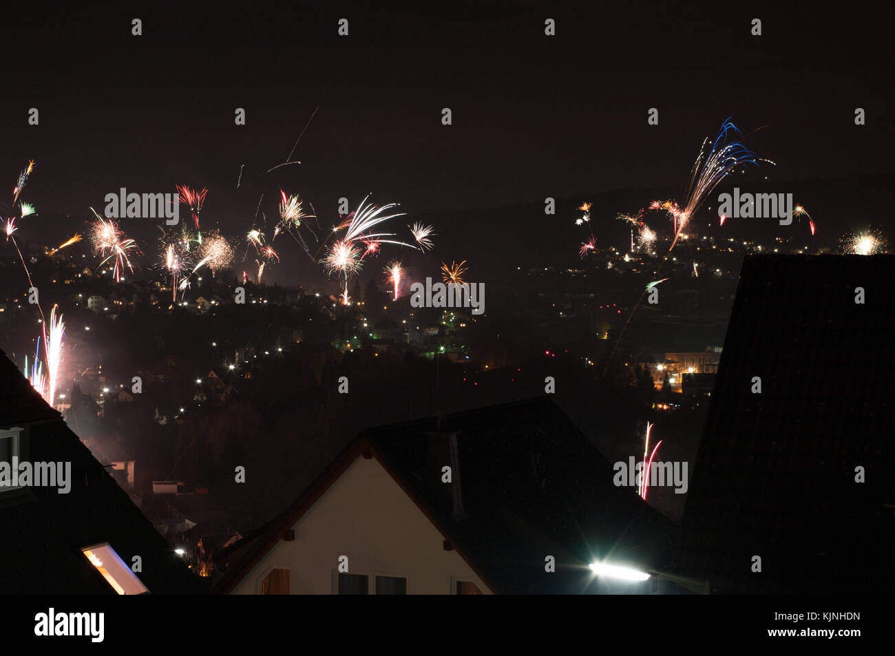 Fire Works at Silvester in Germany - Stock Image