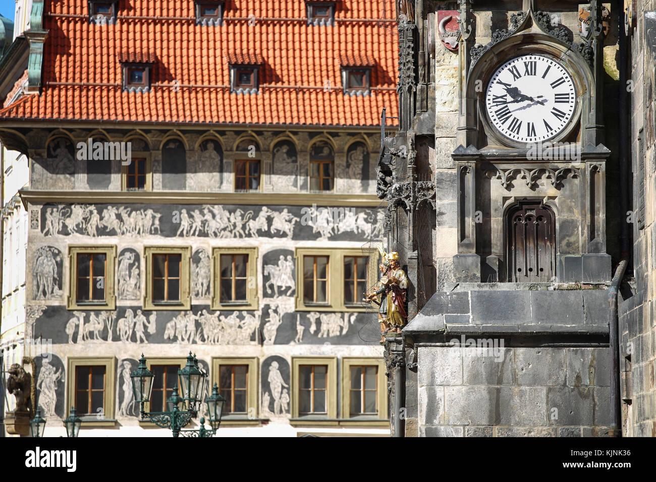 The Prague old City Hall and Astronomical clock Orloj at Old Town Square in Prague, Czech Republic - Stock Image