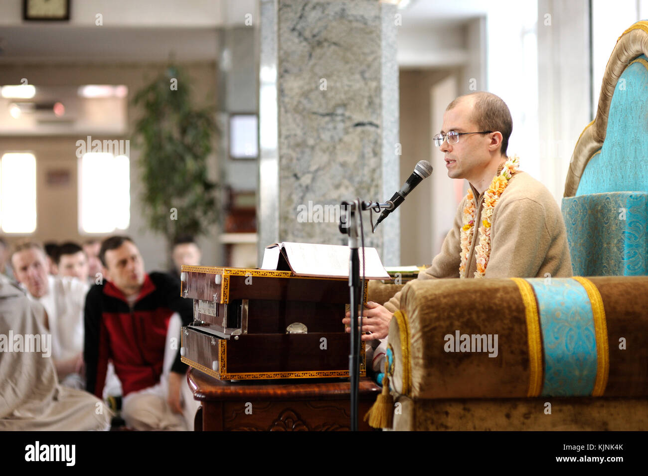 Guru preaching in a temple for Krishna parishioners. April 3, 2017. The Krishna temple, Kiyv, Ukraine - Stock Image