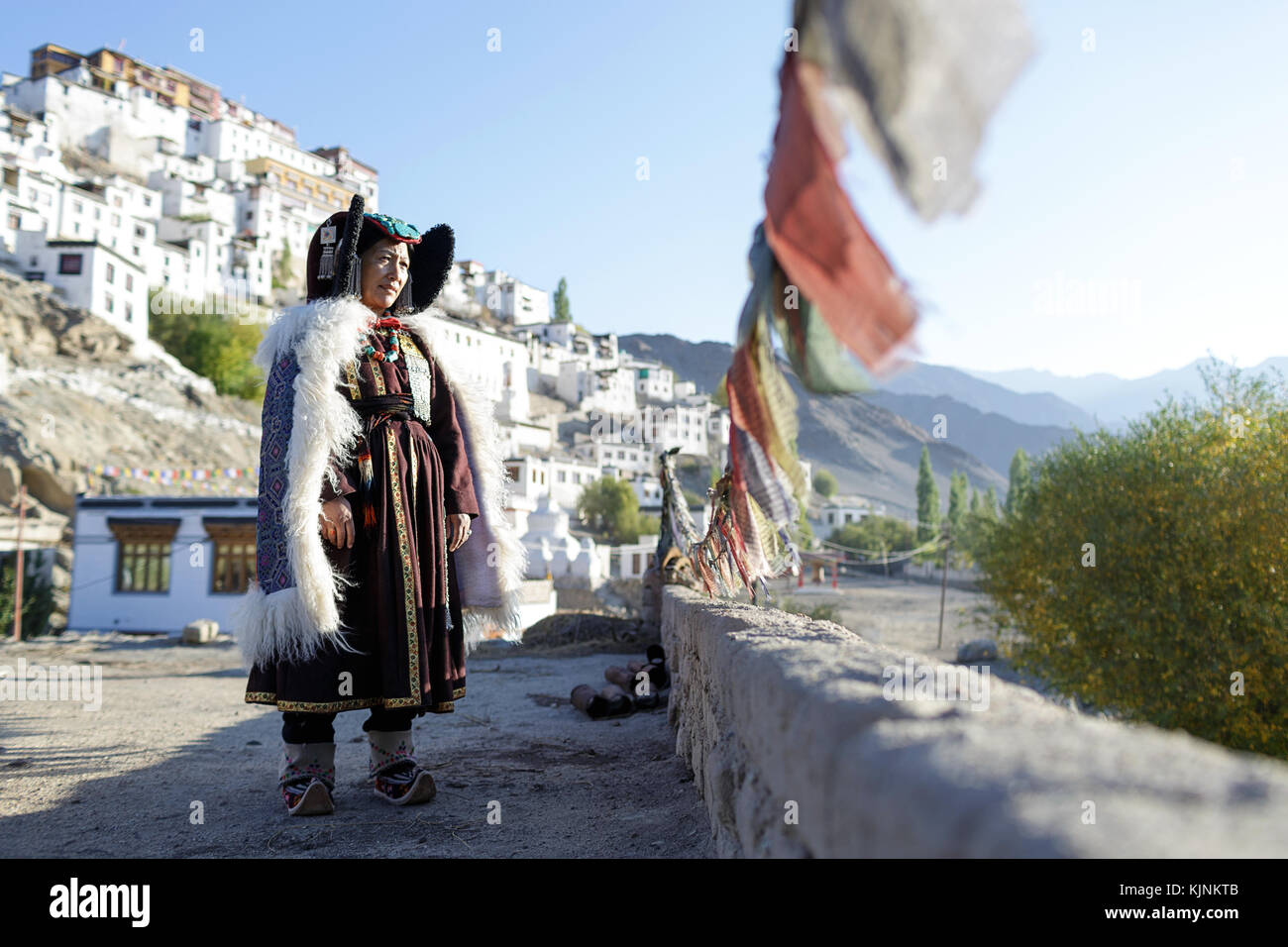 A local woman wearing traditional clothes, Leh, Ladakh, Jammu and Kashmir, India - Stock Image