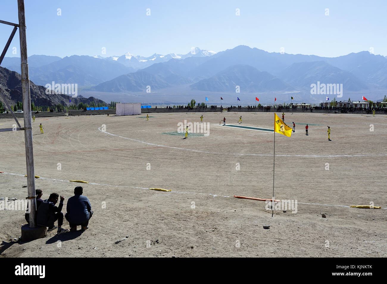 Local cricket players during the match, Leh, Ladakh, Jammu and Kashmir, India. Stock Photo