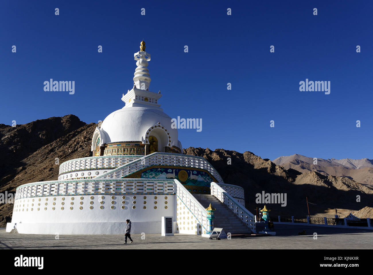 Shanti Stupa in Leh, Ladakh, Jammu and Kashmir, India. Stock Photo