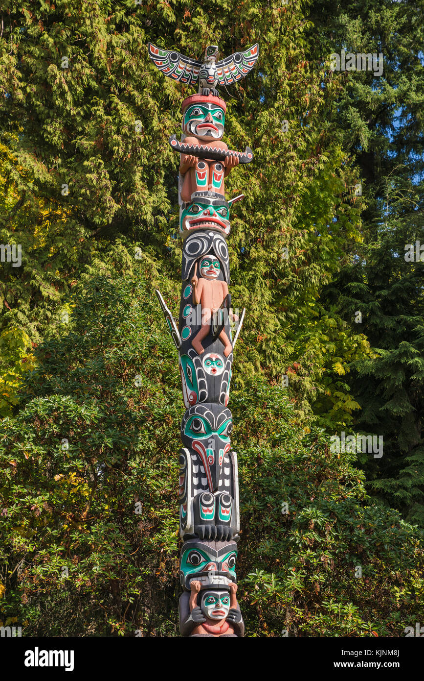Totem pole at Stanley Park in Vancouver, British Columbia, Canada - Stock Image