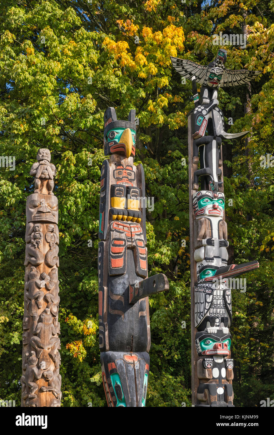 Totem poles at Stanley Park in Vancouver, British Columbia, Canada - Stock Image