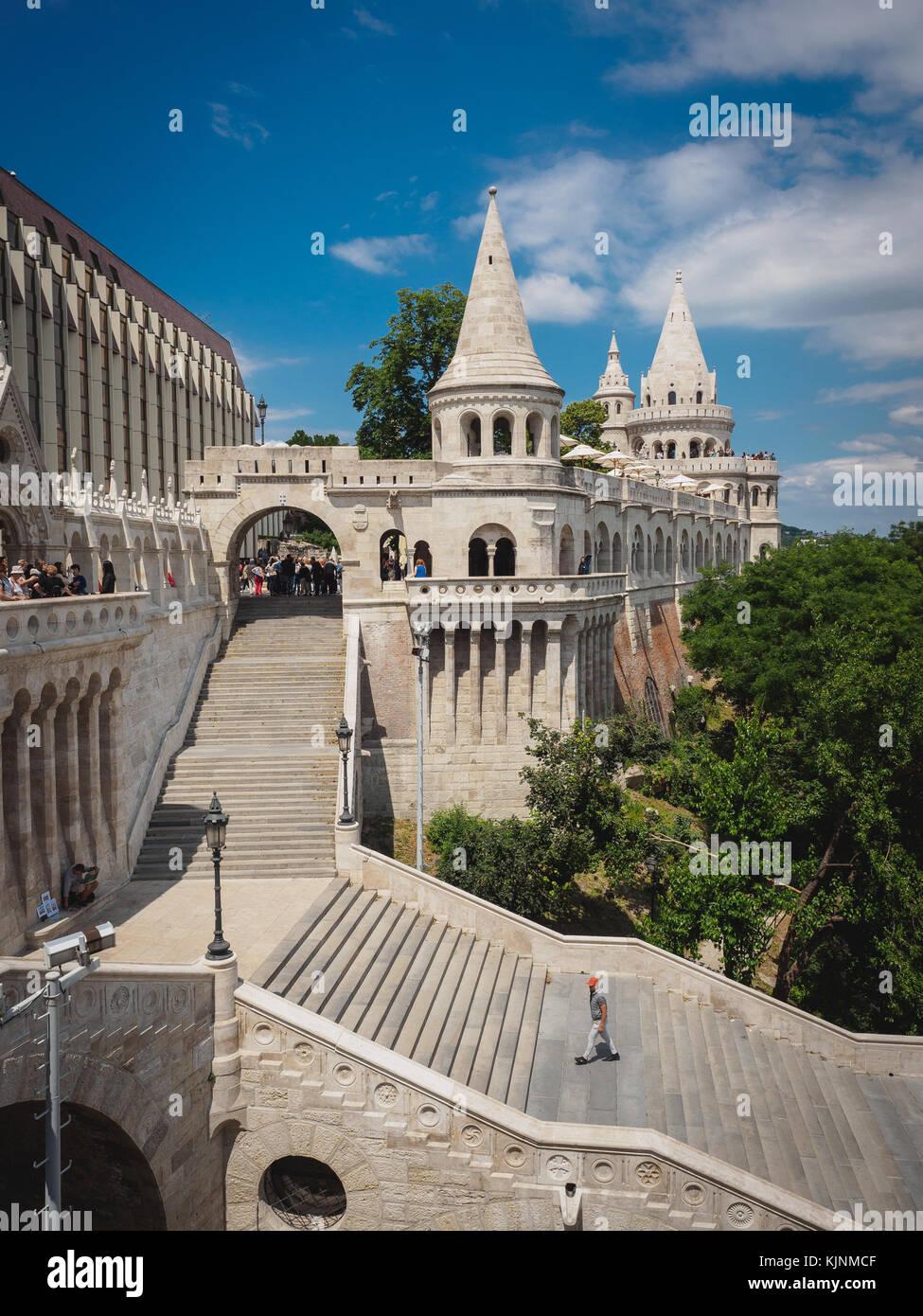 View of the Halaszbastya (Fisherman's Bastion) in Budapest (Hungary). June 2017. Portrait format. - Stock Image