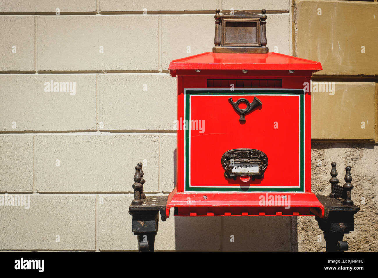 Traditional Hungarian letterbox in Budapest (Hungary). June 2017. Landscape format. Stock Photo