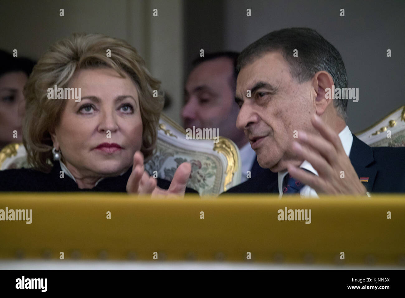 Valentina Matviyenko (R) and Ara Babloyan (L) in the Moscow concert hall during opening Culture Days of Armenia, - Stock Image