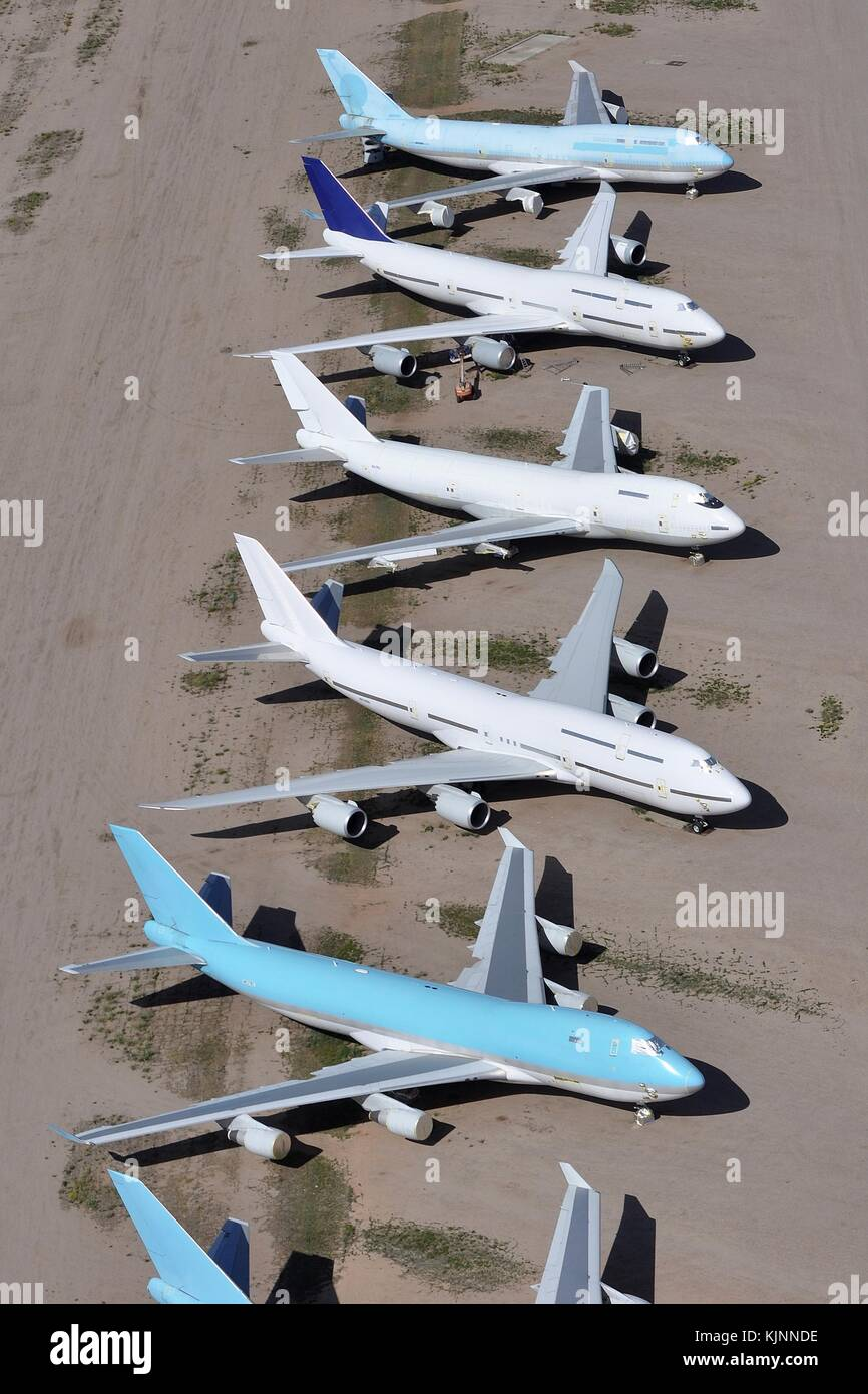BOEING 747 AIRLINERS STORED IN ARIZONA DESERT - Stock Image