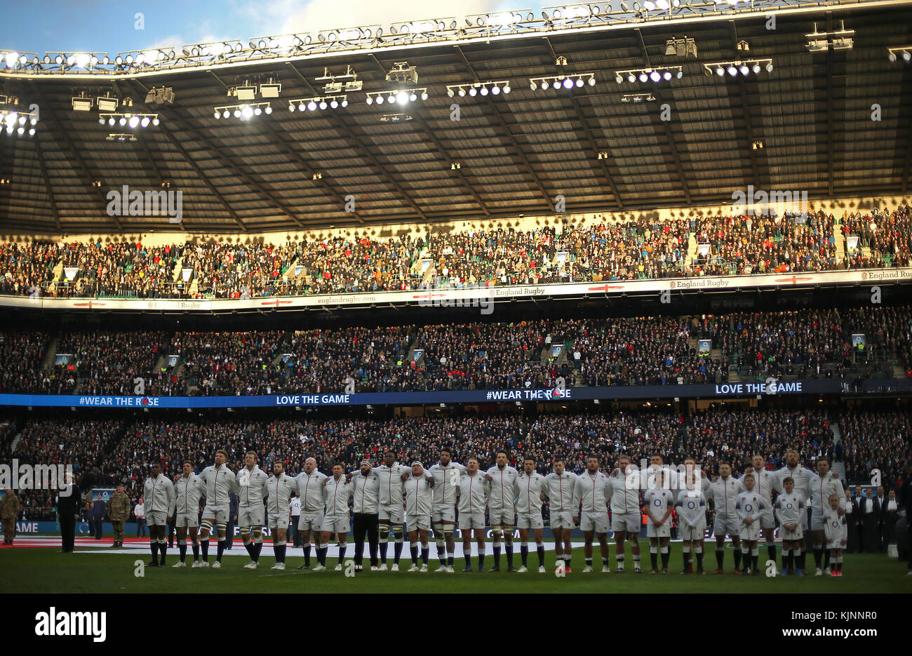 England players sing their national anthem before the Autumn Stock