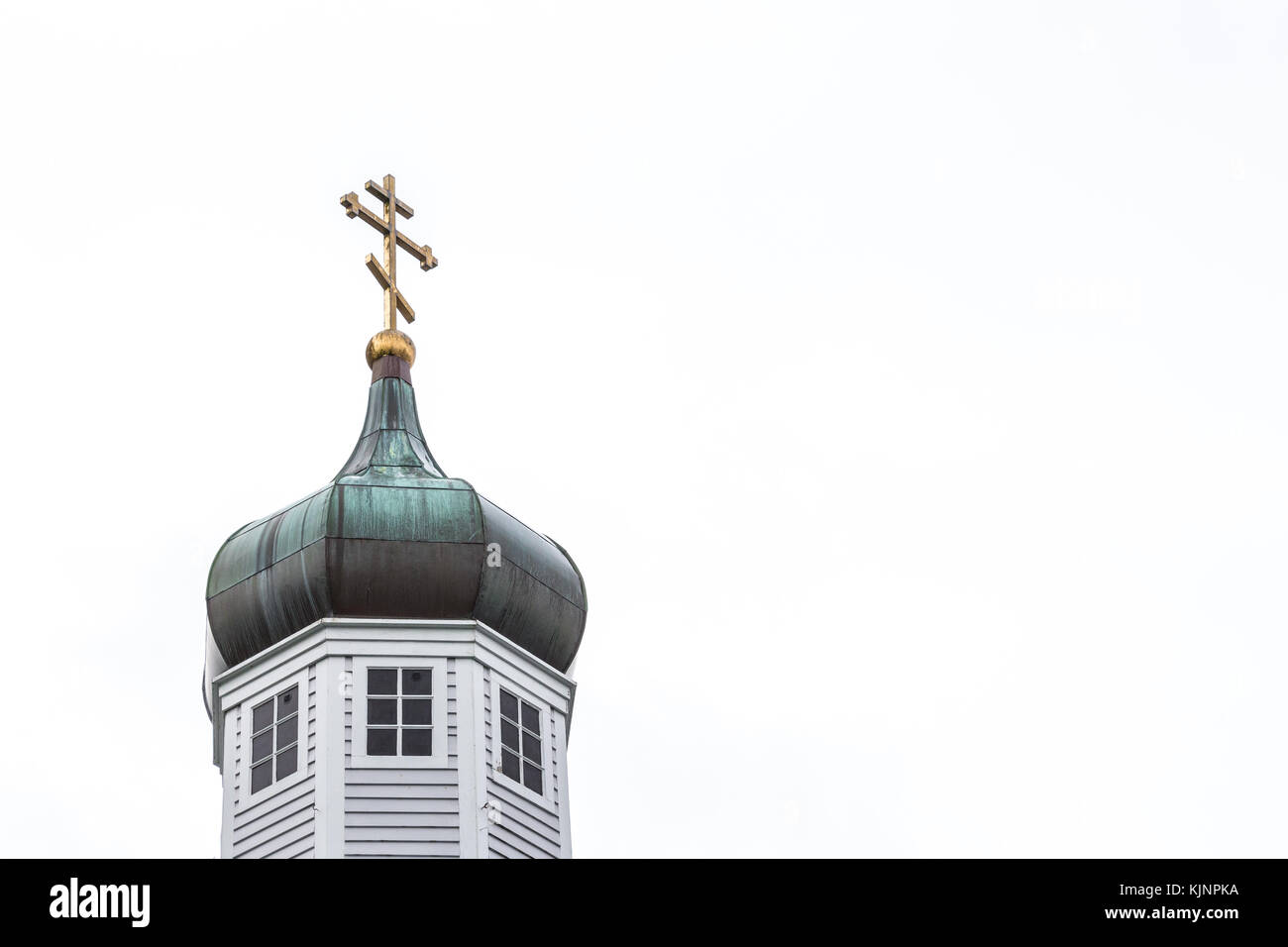 Sitka, Alaska, USA - August 20, 2017: The Cathedral of St Michael Archangel placed at Lincoln and Matsoutoff Streets in Sitka, Alaska. Stock Photo