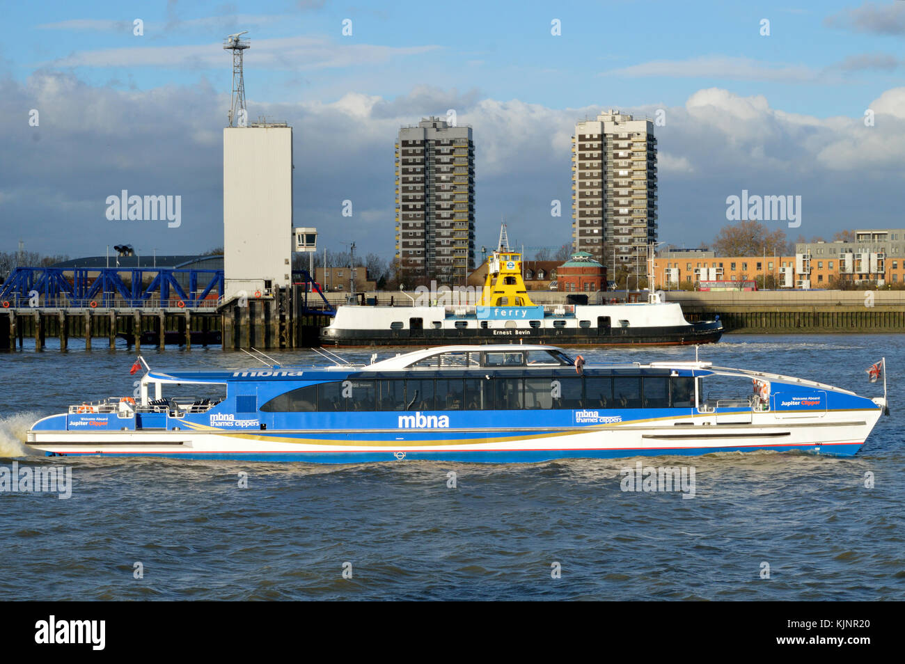 Jupiter Clipper part of the MBNA Thames Clippers fleet operating river bus service on the River Thames in London - Stock Image