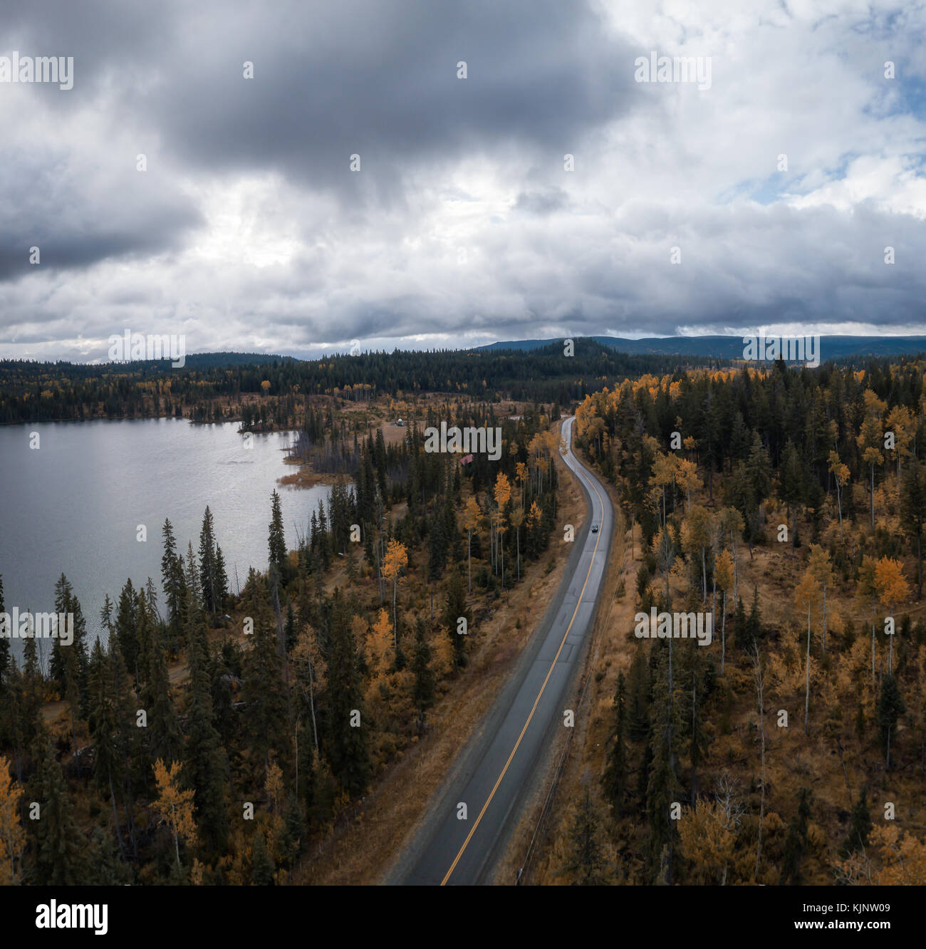 Aerial Drone View Of A Scenic Landscape In The Country Side During An Autumn Season Taken Near Kamloops British Columbia Canada