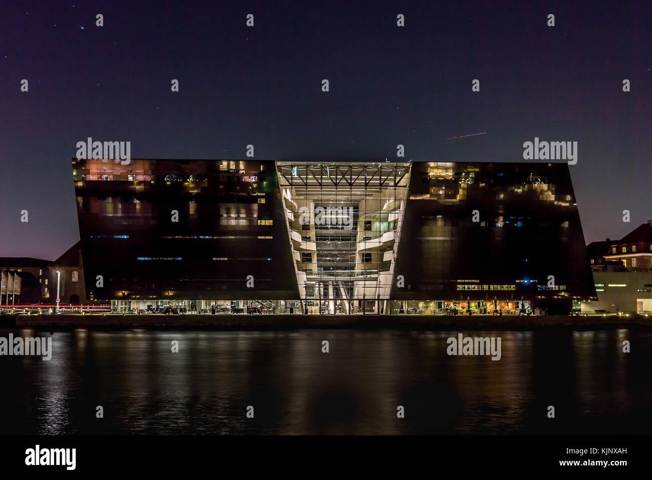 The black diamond, national danish library at night. Reflections in the water. Copenhagen, Denmark, November 23, Stock Photo