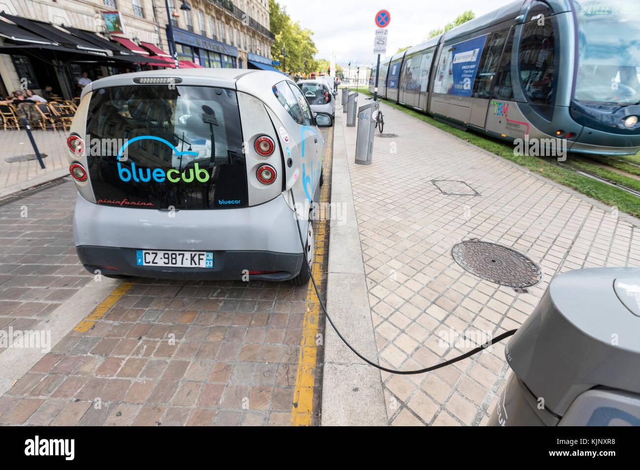 Bluecub electric car, Bolloré Bluecar a four-seat, three-door electric car by Bolloré, designed by Pininfarina, - Stock Image
