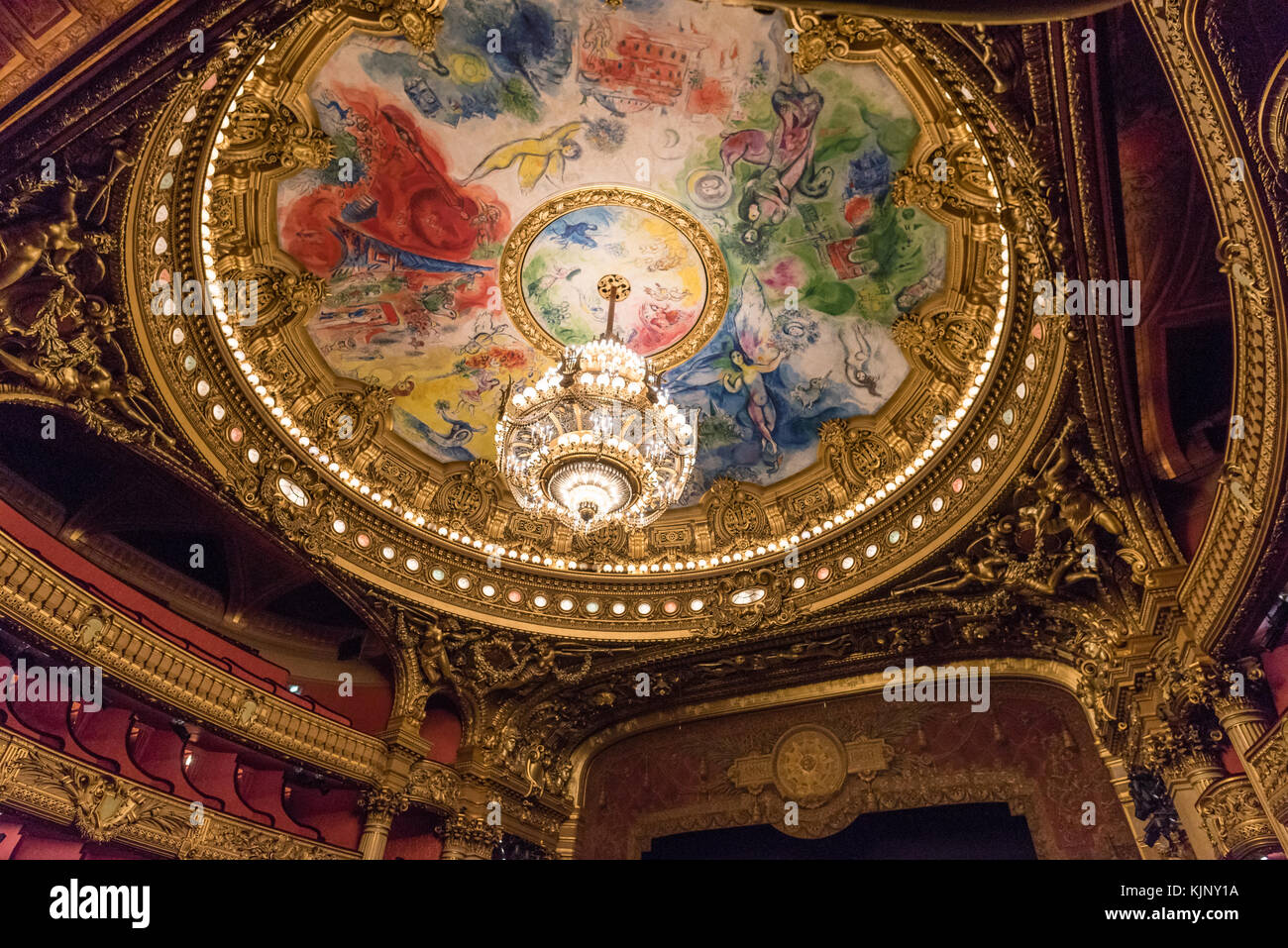 The ceiling and chandelier of the auditorium inside Palais Garnier, Paris - Stock Image