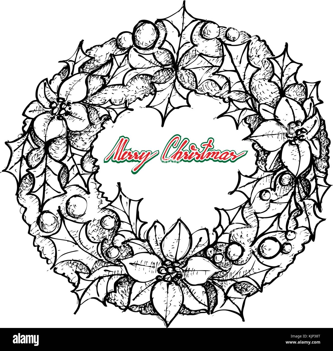 Drawings Of Christmas Wreaths.Illustration Hand Drawn Sketch Of A Beautiful Christmas