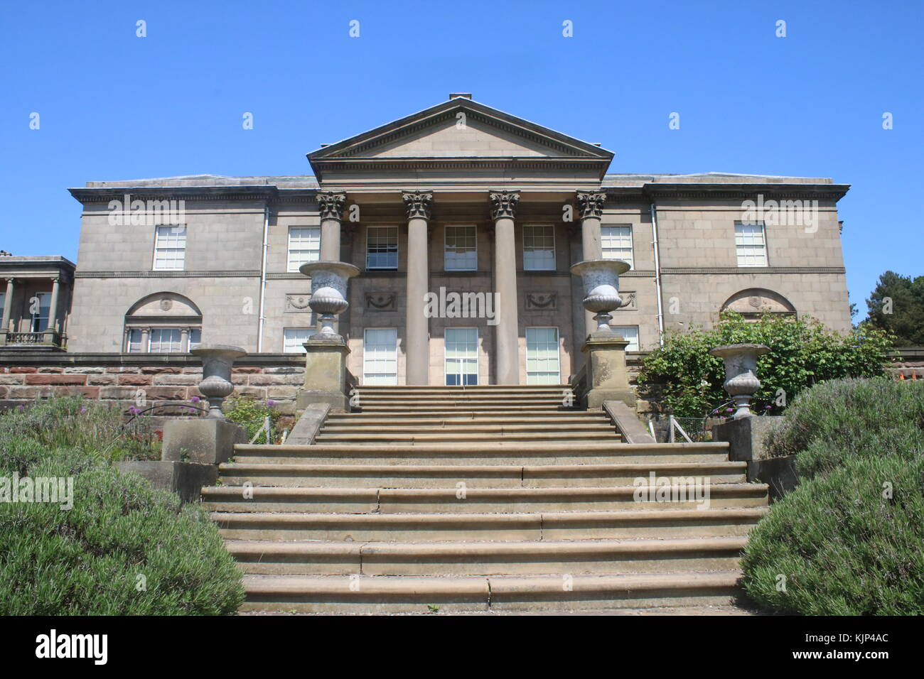 Landscape View Of Building With Steps At Tatton Park Gardens Stock